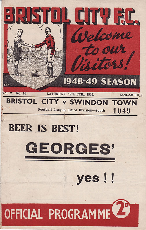 Saturday, February 19, 1949 - vs. Bristol City (Away)