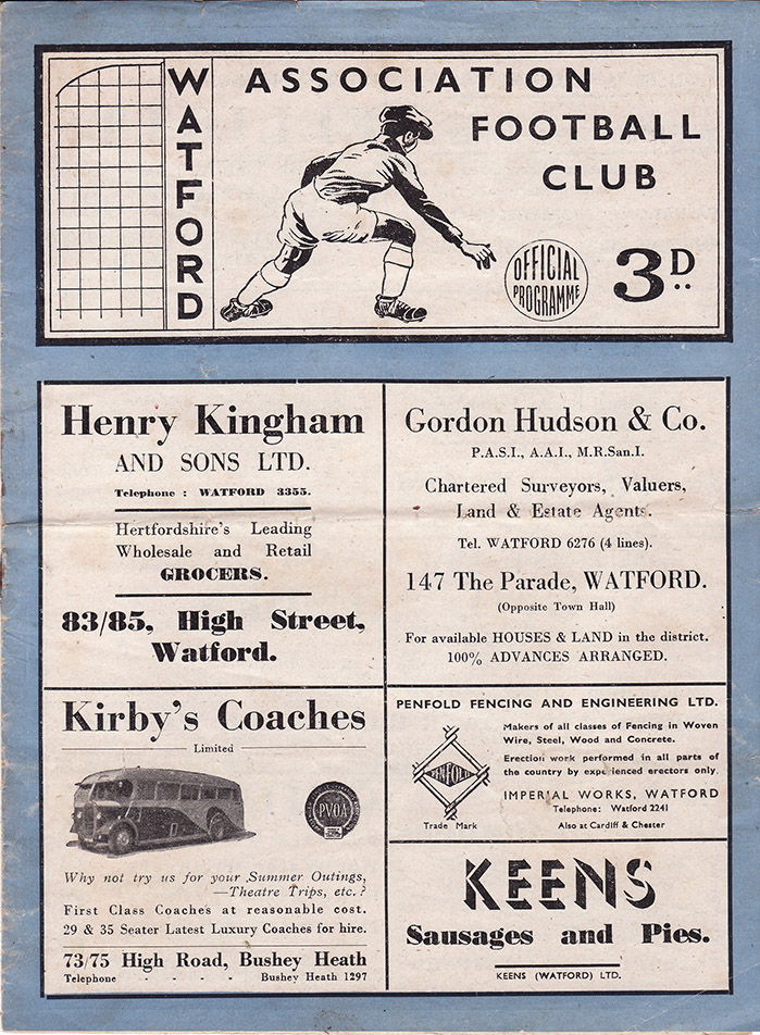 Saturday, March 19, 1949 - vs. Watford (Away)