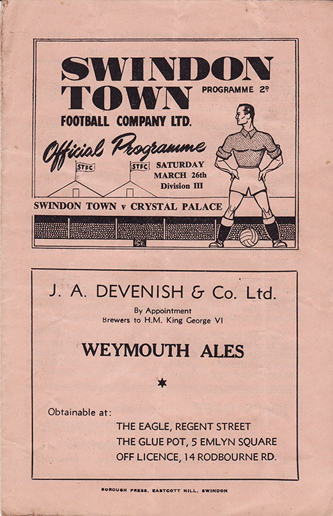 Saturday, March 26, 1949 - vs. Crystal Palace (Home)