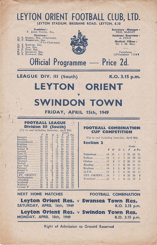Friday, April 15, 1949 - vs. Leyton Orient (Away)
