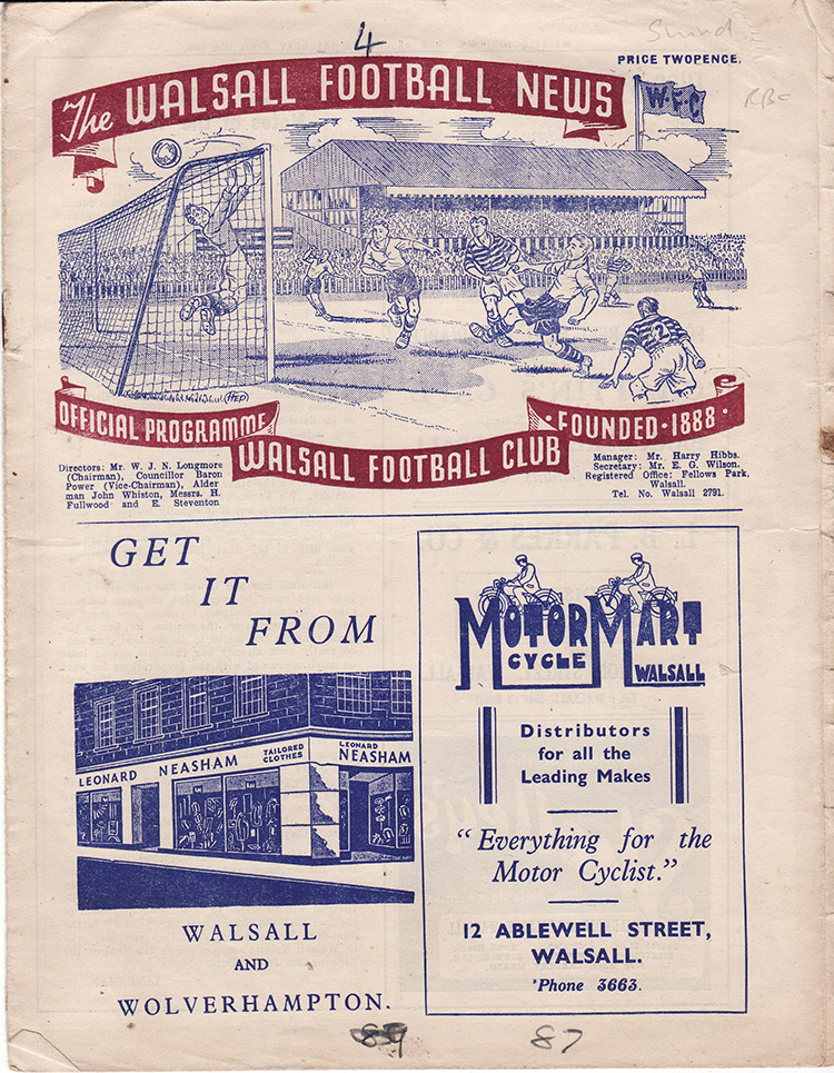 Saturday, April 16, 1949 - vs. Walsall (Away)