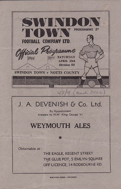 Saturday, April 23, 1949 - vs. Notts County (Home)