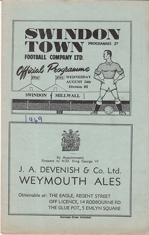 Wednesday, August 24, 1949 - vs. Millwall (Home)