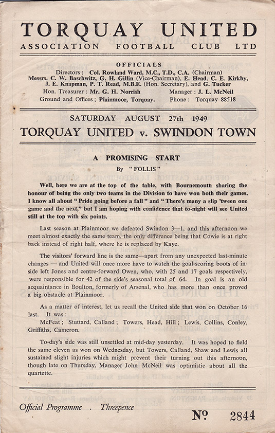 Saturday, August 27, 1949 - vs. Torquay United (Away)