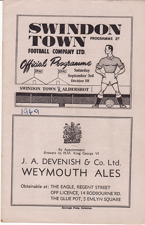 Saturday, September 3, 1949 - vs. Aldershot (Home)