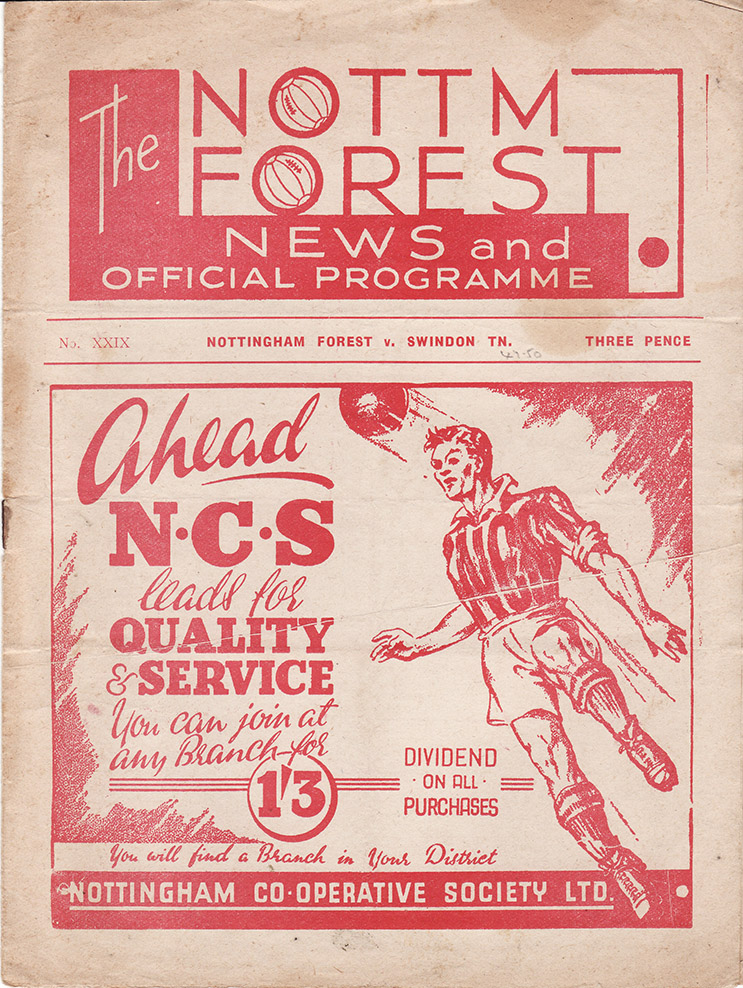 Saturday, September 10, 1949 - vs. Nottingham Forest (Away)