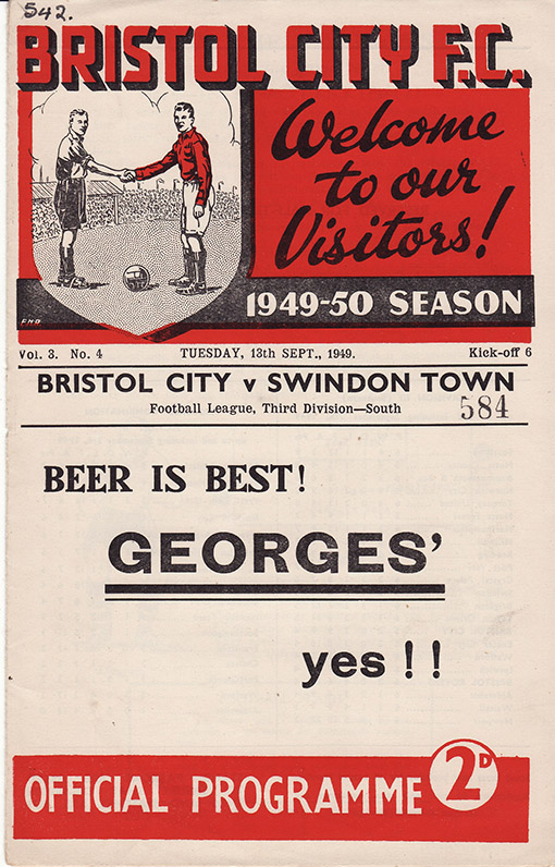 Tuesday, September 13, 1949 - vs. Bristol City (Away)