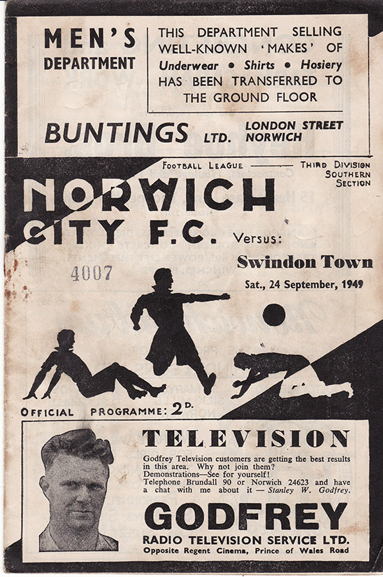 Saturday, September 24, 1949 - vs. Norwich City (Away)