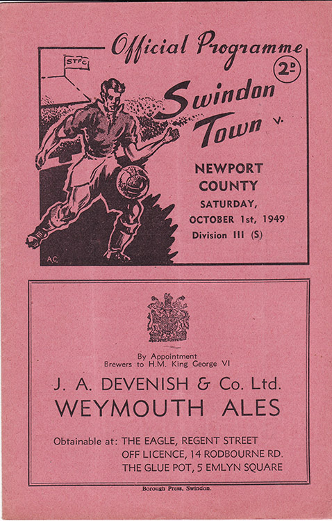 Saturday, October 1, 1949 - vs. Newport County (Home)