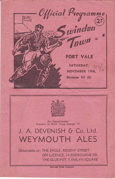 Saturday, November 19, 1949 - vs. Port Vale (Home)