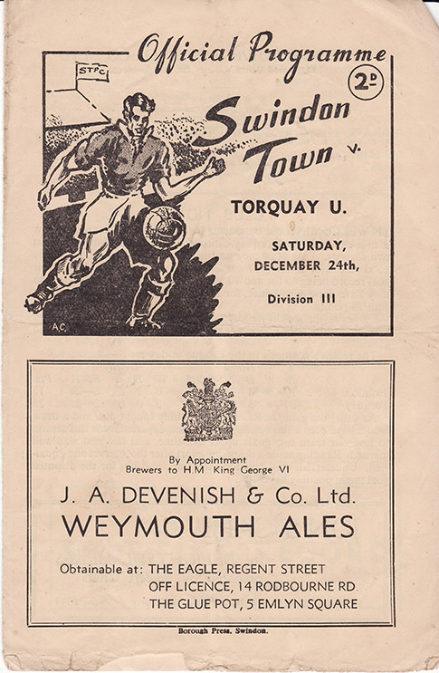 Saturday, December 24, 1949 - vs. Torquay United (Home)