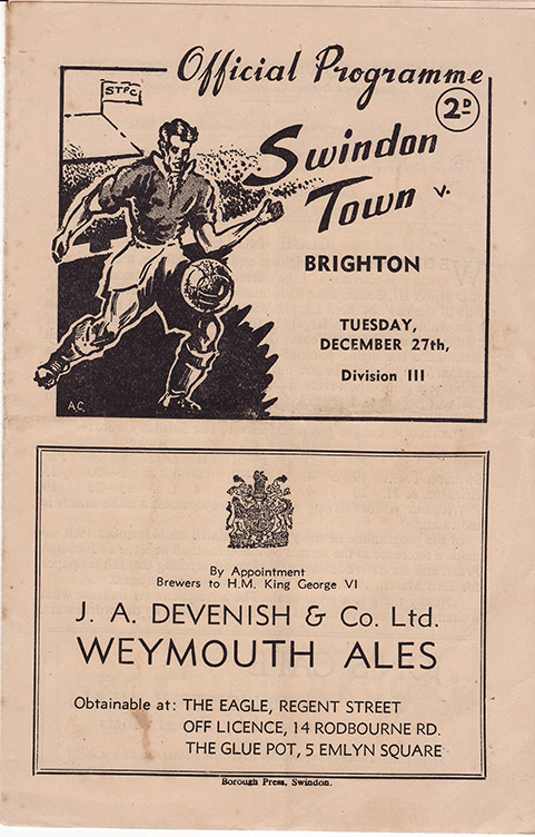 Tuesday, December 27, 1949 - vs. Brighton and Hove Albion (Home)