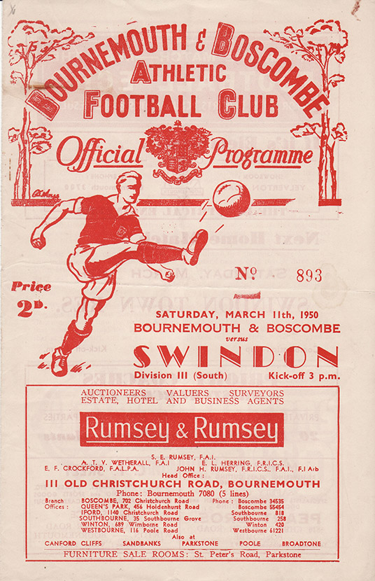 Saturday, March 11, 1950 - vs. Bournemouth and Boscombe Athletic (Away)