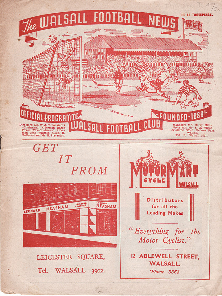 Friday, April 7, 1950 - vs. Walsall (Away)
