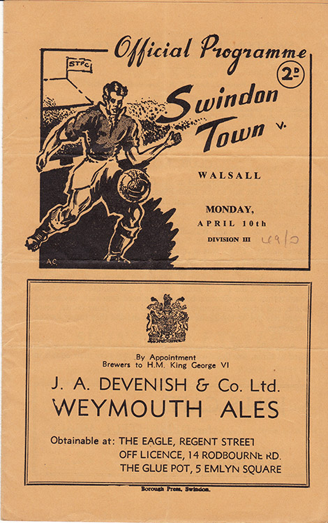 Monday, April 10, 1950 - vs. Walsall (Home)