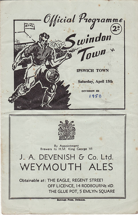 Saturday, April 15, 1950 - vs. Ipswich Town (Home)