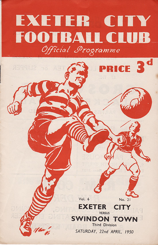 Saturday, April 22, 1950 - vs. Exeter City (Away)