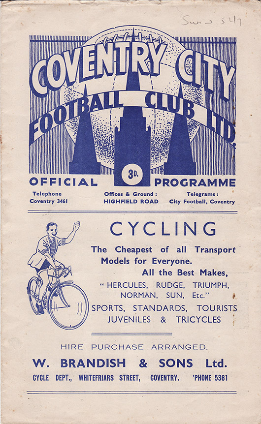 Saturday, August 23, 1952 - vs. Coventry City (Away)