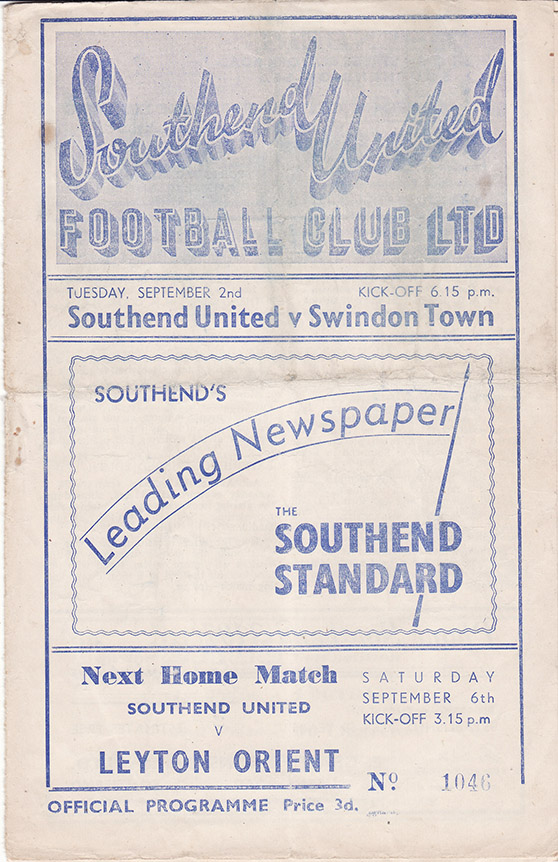 Tuesday, September 2, 1952 - vs. Southend United (Away)
