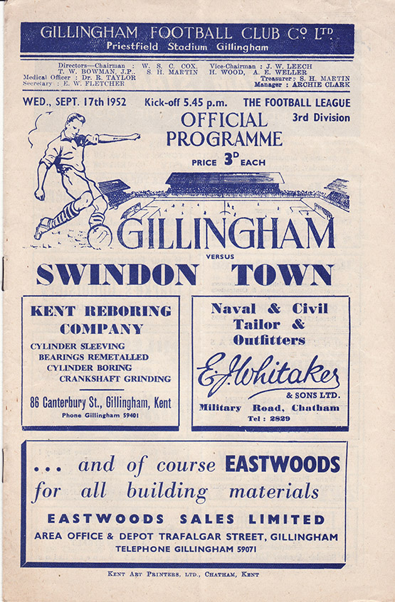 Wednesday, September 17, 1952 - vs. Gillingham (Away)