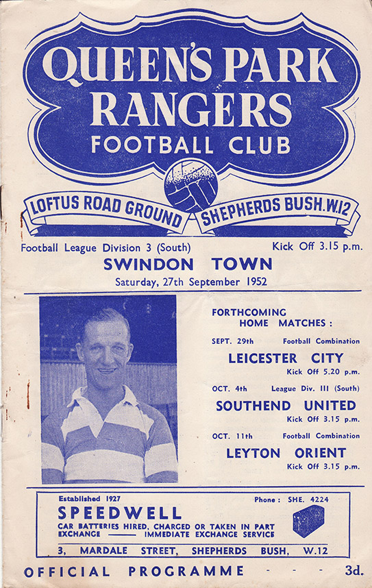 Saturday, September 27, 1952 - vs. Queens Park Rangers (Away)