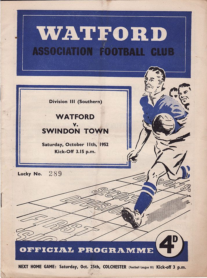 Saturday, October 11, 1952 - vs. Watford (Away)