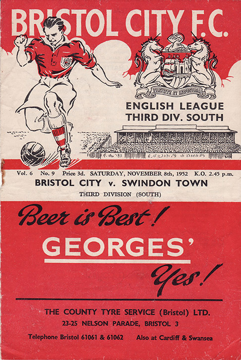 Saturday, November 8, 1952 - vs. Bristol City (Away)