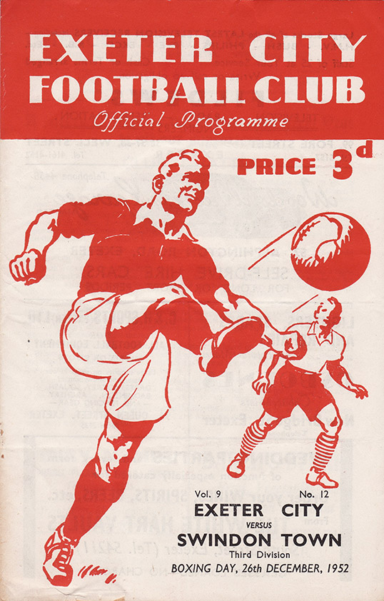 Friday, December 26, 1952 - vs. Exeter City (Away)