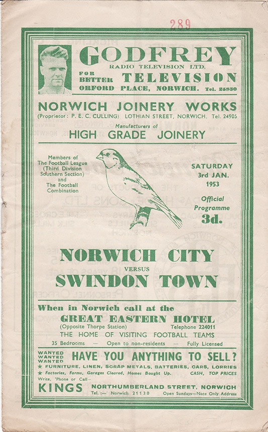 Saturday, January 3, 1953 - vs. Norwich City (Away)