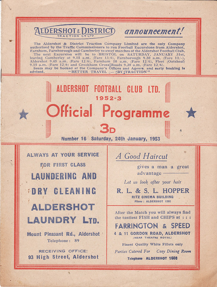 Saturday, January 24, 1953 - vs. Aldershot (Away)