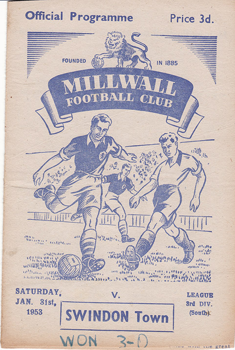 Saturday, January 31, 1953 - vs. Millwall (Away)