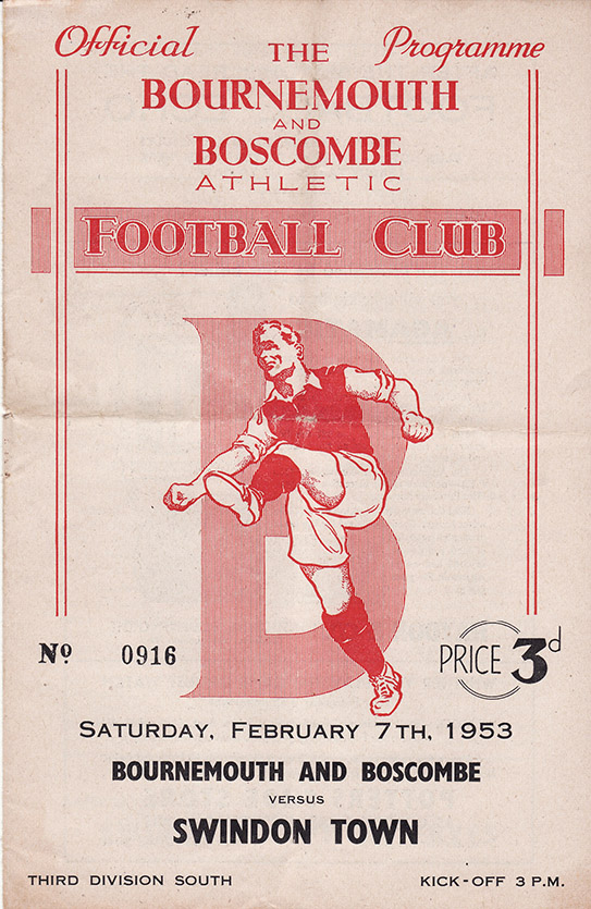 Saturday, February 7, 1953 - vs. Bournemouth and Boscombe Athletic (Away)