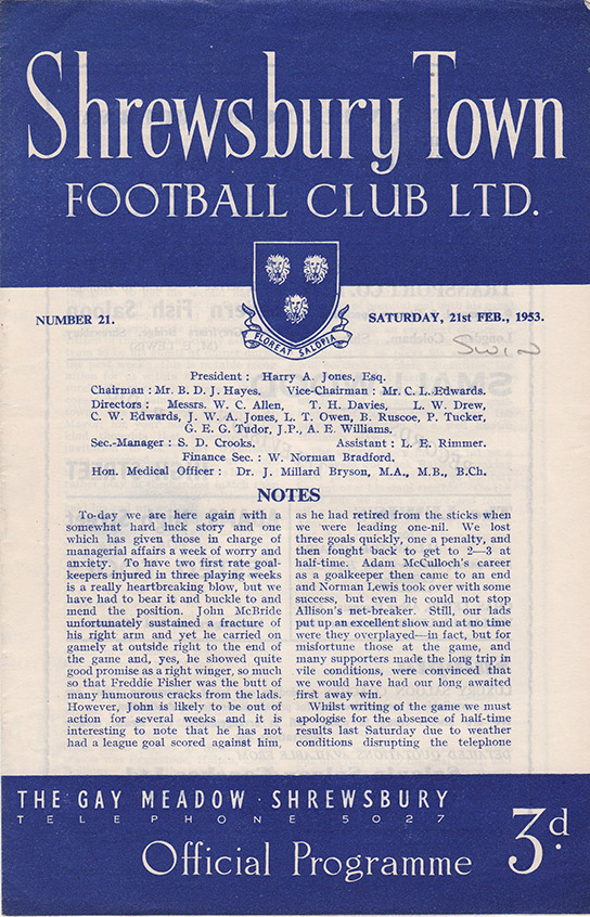 Saturday, February 21, 1953 - vs. Shrewsbury Town (Away)