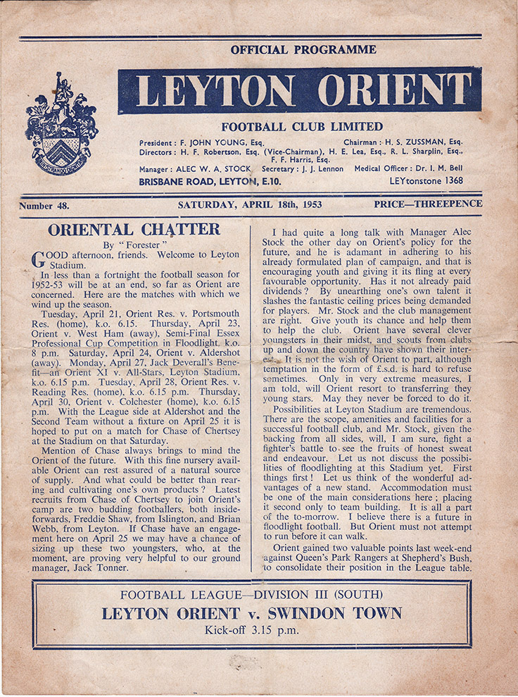 Saturday, April 18, 1953 - vs. Leyton Orient (Away)