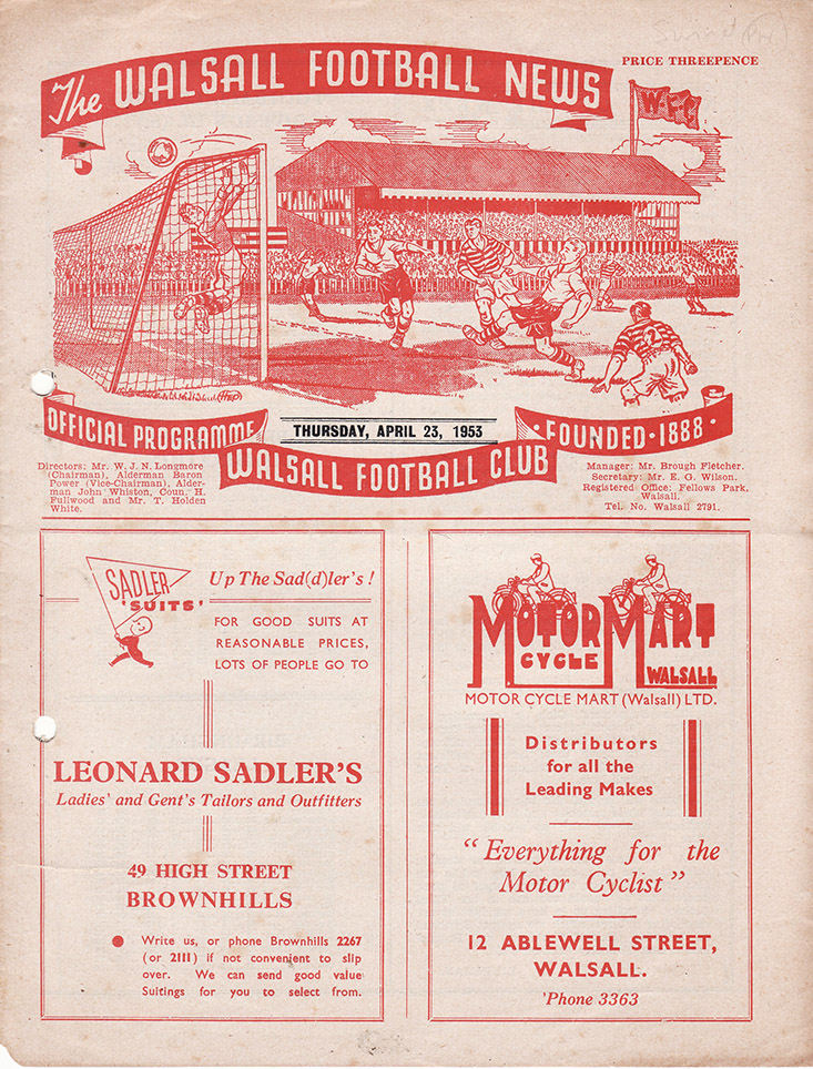 Thursday, April 23, 1953 - vs. Walsall (Away)
