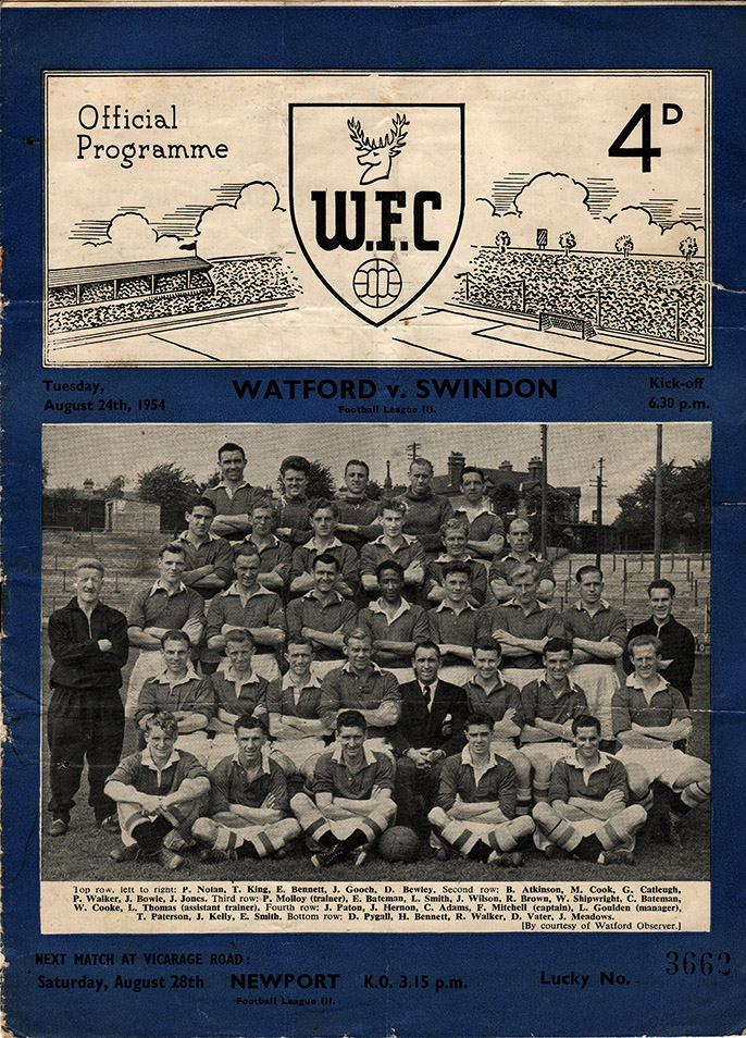 Tuesday, August 24, 1954 - vs. Watford (Away)