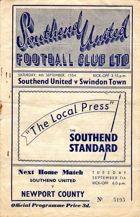 Saturday, September 4, 1954 - vs. Southend United (Away)