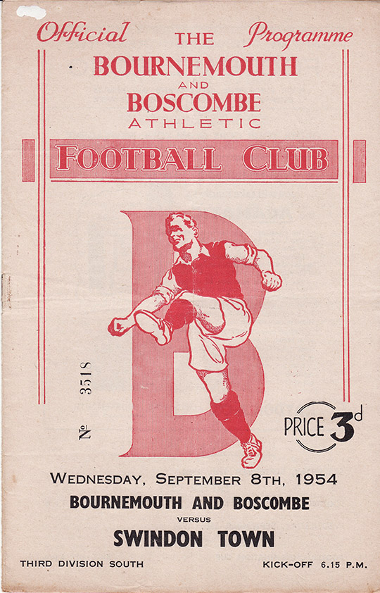 Wednesday, September 8, 1954 - vs. Bournemouth and Boscombe Athletic (Away)