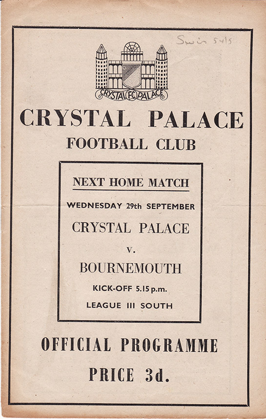 Saturday, September 25, 1954 - vs. Crystal Palace (Away)