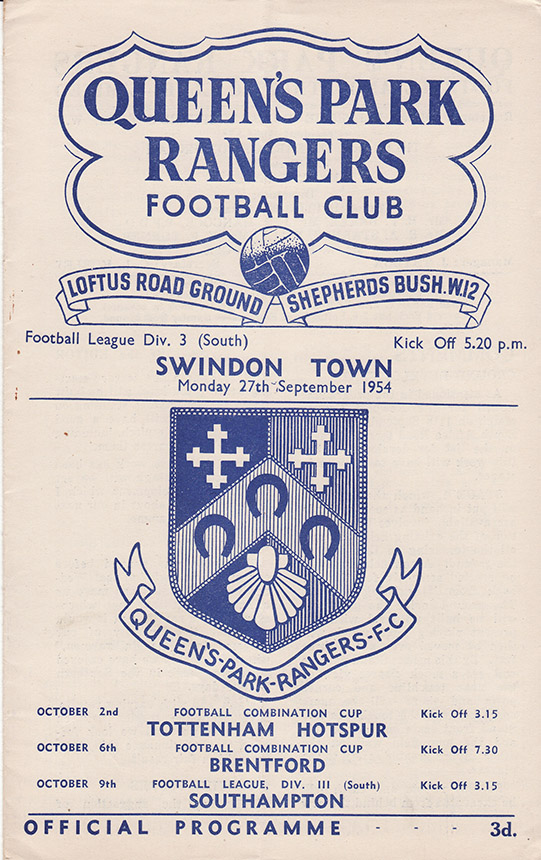 Monday, September 27, 1954 - vs. Queens Park Rangers (Away)