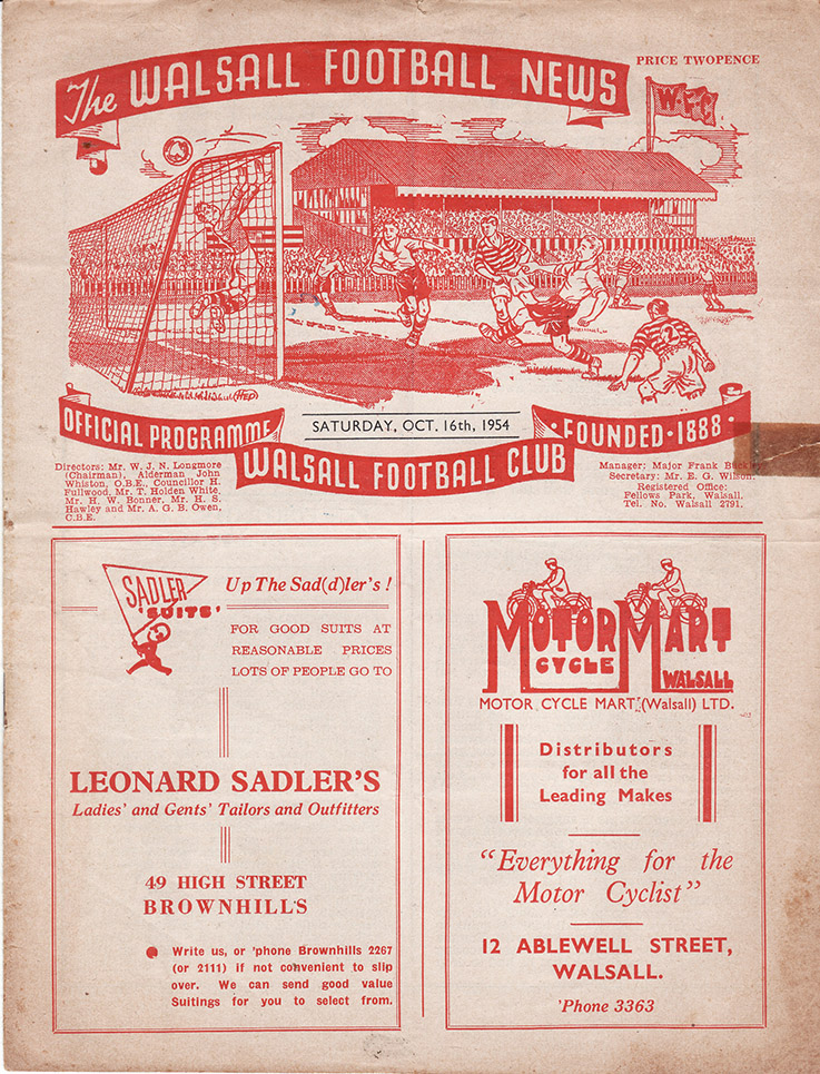 Saturday, October 16, 1954 - vs. Walsall (Away)