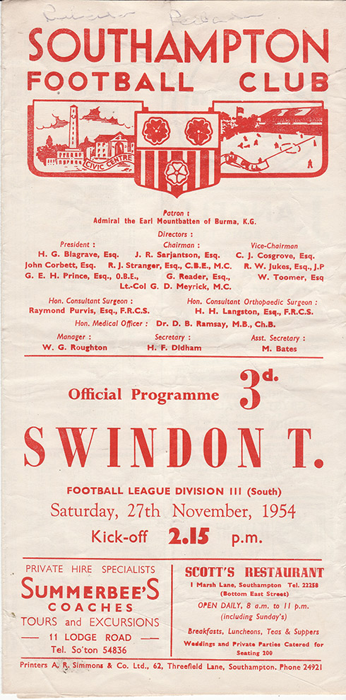 Saturday, November 27, 1954 - vs. Southampton (Away)