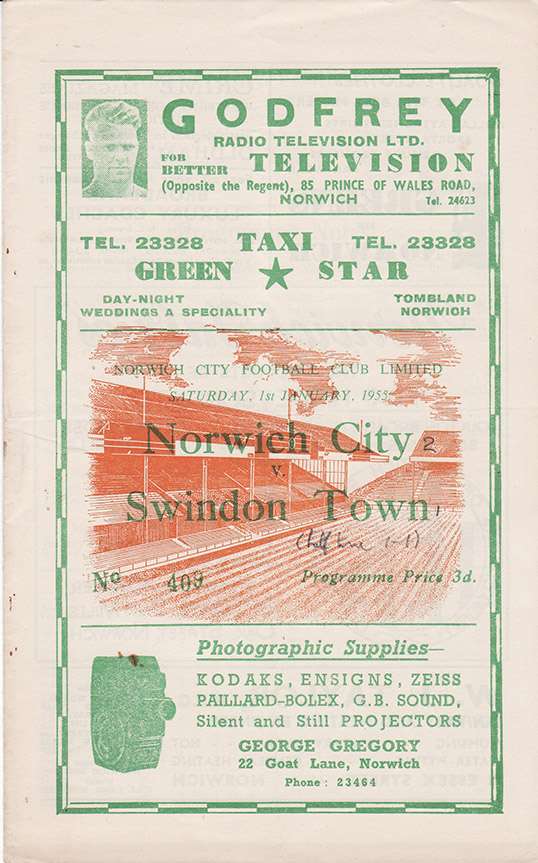 Saturday, January 1, 1955 - vs. Norwich City (Away)