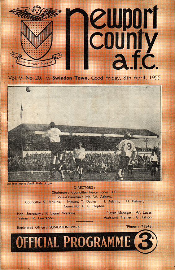Friday, April 8, 1955 - vs. Newport County (Away)