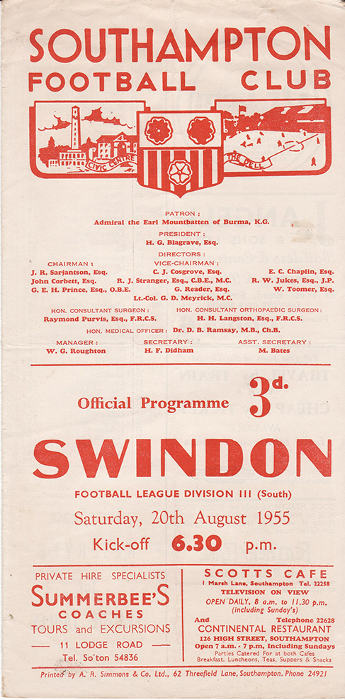 Saturday, August 20, 1955 - vs. Southampton (Away)