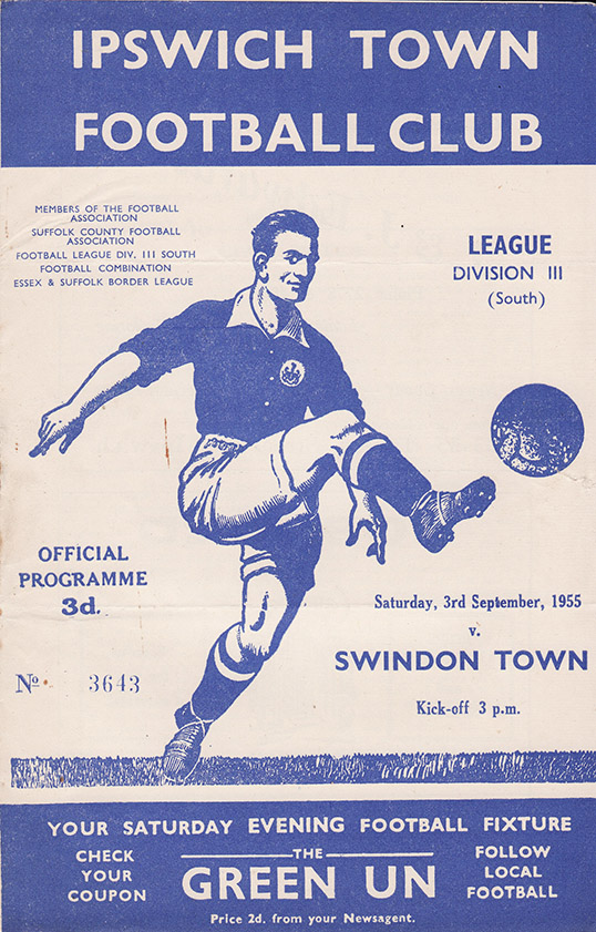 Saturday, September 3, 1955 - vs. Ipswich Town (Away)