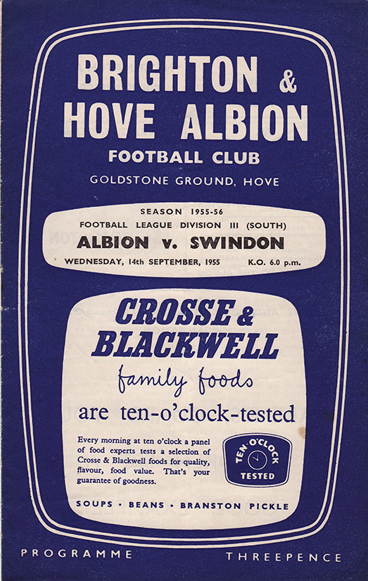 Wednesday, September 14, 1955 - vs. Brighton and Hove Albion (Away)