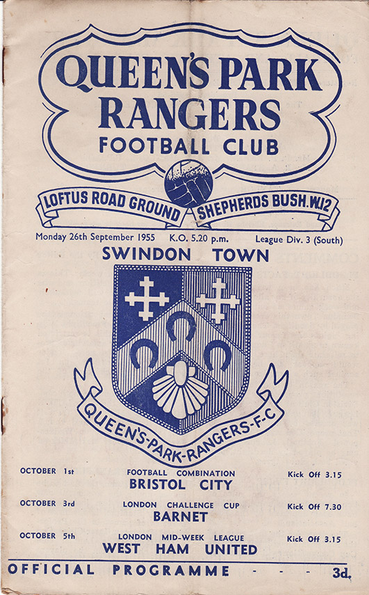 Monday, September 26, 1955 - vs. Queens Park Rangers (Away)