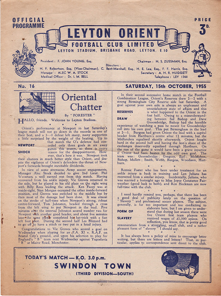 Saturday, October 15, 1955 - vs. Leyton Orient (Away)