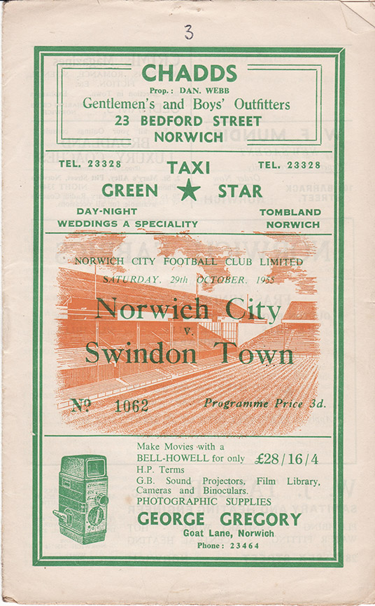 Saturday, October 29, 1955 - vs. Norwich City (Away)